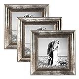 PHOTOLINI 3er Set Bilderrahmen 10x10 cm Silber Barock Antik Massivholz mit Glasscheibe und Zubehör/Fotorahmen / Barock-Rahmen