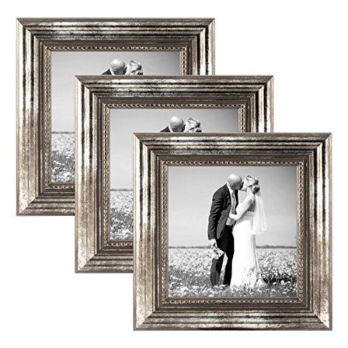 PHOTOLINI 3er Set Bilderrahmen 10x10 cm Silber Barock Antik Massivholz mit Glasscheibe und...