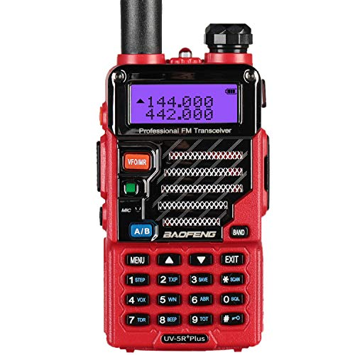 BaoFeng Plus Walkie Talkie (bibanda, Doble Monitor, Doble Standby, 2M/70CM, emisor y Receptor, Radio FM, Antena Extensible hasta 18 cm) (Rojo)