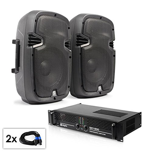 DJ Set audio'SPJ Boom MKII' coppia casse e amplificatore 8' 800W