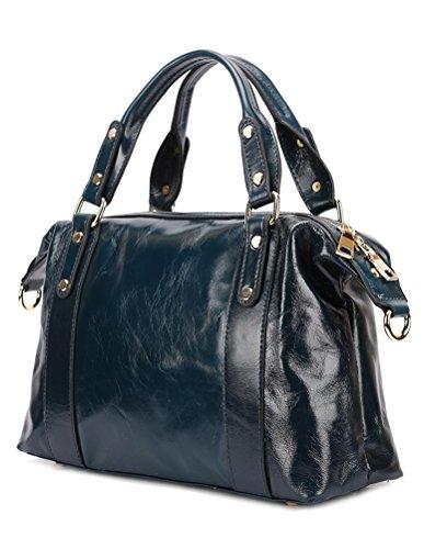 borgasets Luxe New Fashion Lady en cuir véritable Vintage Femme Poignée Croix Corps Sac fourre-tout Sac à bandoulière Sac à main Noir - bleu