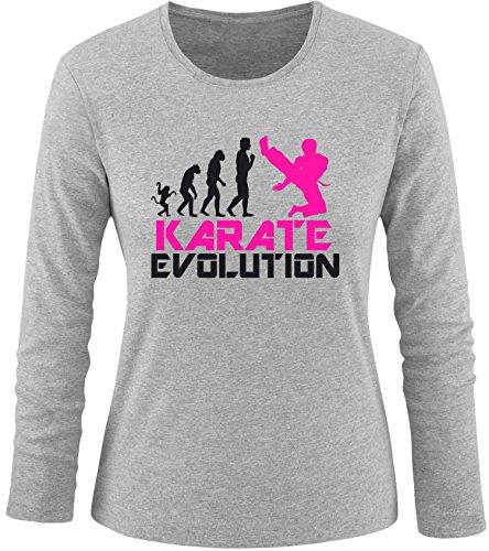 EZYshirt® Karate Evolution Damen Longsleeve Grau/Schwarz/Pink
