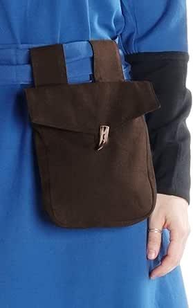 HEMAD Mittelalter Tasche Widia aus Baumwolle Hellgrün, Schwarz, Braun Gewandung LARP