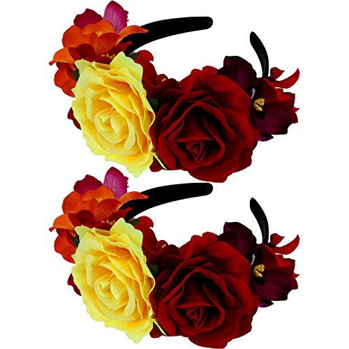 Toten Der Kostüm Tag Festival - WILLBOND 2 Stücke Tag der Toten Stirnband Rose Blume Krone Stirnband Künstliche Mexikanische Blume Kopf Bedeckung für Mexikanische Festival Party Kostüm
