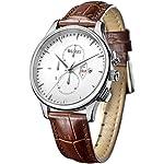 BUREI Klassische Herrenuhr Chronograph Saphirglas Herrenuhr mit braun Uhrenlederband und Tag und Datumsanzeige Großes Zifferblatt Geschenke für Männer
