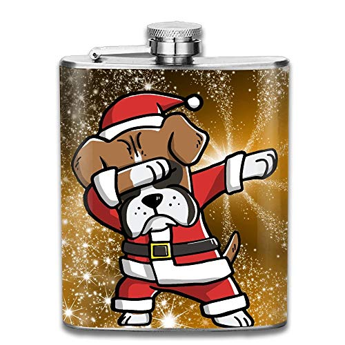 Dabbing Boxer Ugly Christmas Sweater Stainless Steel Liquor Flagon Retro Pocket Flask\Stainless Steel Travel Flask Great Little Gift,Safe And Nontoxic