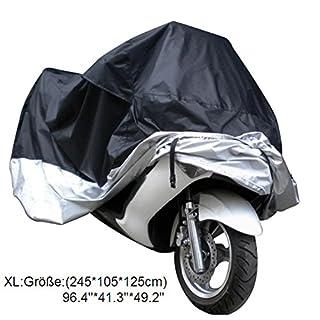 MHR Motorrad Abdeckplane Abdeckung Faltgarage Schutz Wetterdicht Wasserdicht Staubdicht Sunblocker Motorrad Plane Wetterschutz Haube Fahrrad Motorrad (XL, Schwarz Silber)
