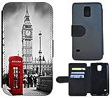 Flip Cover Schutz Hülle Handy Tasche Etui Case für (Samsung Galaxy S5 Mini G800, 1103 London Big Ben England Rot Grau)