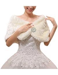 4119ead0ea94 Femme Châles Boléro Fausse Fourrure Wraps de Mariage Pèlerine Echarpe  Princesse Cape Pour Robe de Mariée
