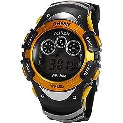 Ohsen Mens Orange Date Alarm 7 Modes Backlights Multifunction Sport Rubber Watch
