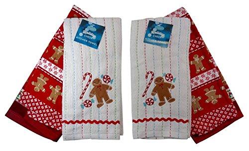 Weihnachten Lebkuchenmann Küche Handtücher, zwei Sets (2). Holly Candy Dish