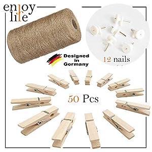 Enjoy Life Jute Kordel Schnur 10m, 50 Stück Mini-Holzwäscheklammer 3,5 cm und 12 Non-Trace Nägel – Dekoration für…