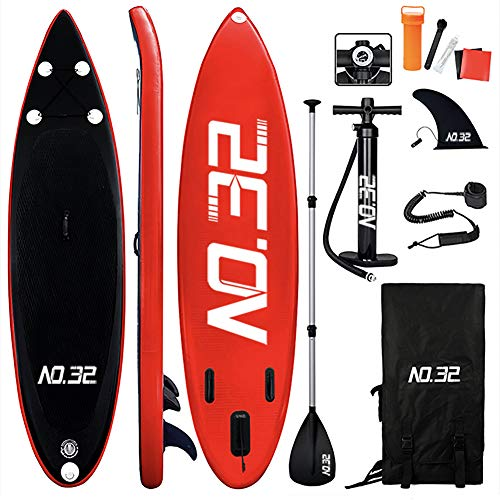 Tabla Hinchable de Paddle Surf + SUP Paddle Remo de Ajustable | Bomba | Mochila | Aleta Central Desprendible |...