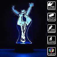 Michael Jackson Geschenk 3D Optische Illusions-Lampen LED 7 Farben Touch-Schalter Ändern Nachtlicht Für Schlafzimmer Home Decoration Hochzeit Geburtstag Weihnachten Valentine Geschenk Romantische Atmosphäre