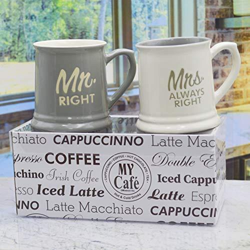 Tasse-Mrs. Always Right & Mr. Right-Set von 2Kaffee Tee Tassen, Geschenk-Box-Perfekte Geschenk Brautpaares Set Becher Erinnerungen 2 Tee Tassen
