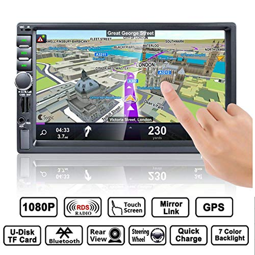 Autoradio GPS Navigation, HALUM Wince 7\'\' 1080P Touchscreen 2 DIN, Mirrorlink/Bluetooth Freisprecheinrichtung/7 LED Beleuchtungsfarbe/RDS, mit Fernbedienung/Rückkamera/8G TF Karte