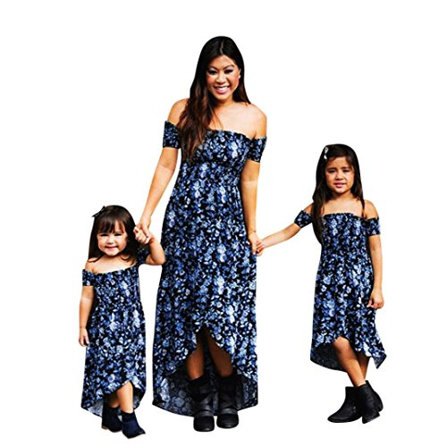 SMILEQ Long Maxi Dress Mom and Me Family Matching Sundress Women Girls Off Shoulder High Low Ball Gown Skirt