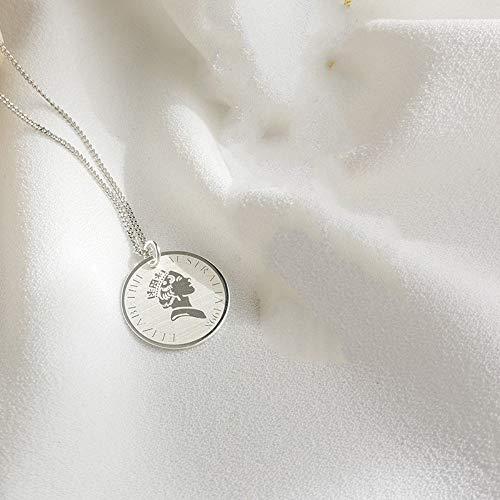 Damen Halskette,Kurze Retro Portrait Schlüsselbein Kette S 925 Sterling Silber Schmuck Benutzerdefinierte Silber Runde Münze Anhänger Wild Schlüsselbein Kette Modeschmuck
