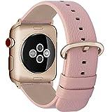 Fullmosa Correa Compatible Apple Watch 44mm 42mm 40mm 38mm, YAN 15 Colores Correa Cuero Pulsera para iWatch Series 4 3 2 1, Rosa + Hebilla de Oro Rosa + Adaptador Oro Rosa 38mm 40mm