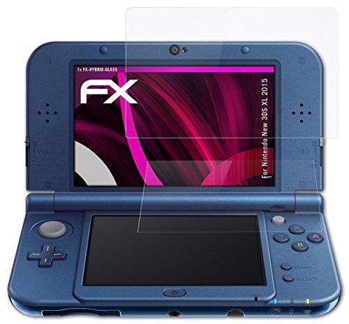 atFoliX Lámina Protectora de Cristal Nintendo New 3DS XL (2015) Película Vidrio - Set de 1 - FX-Hybrid-Glass