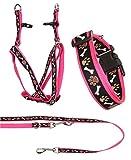 Ein Set - Halsband, Hundegeschirr Step-In, Hundeleine - verstellbar, Zugentlastung, stabil, bequem, weich, Farbe Rosa - TX-ZOO/Zb-PINK