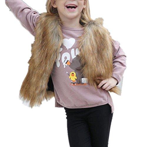 Longra Kinder Mädchen Winter Weste Ärmellose Kunstfell-Weste Jacken Warm Pelzweste Parka Pelzjacke Outwear Windbreaker Wintermantel Woolmantel (3-8Jahre) (100CMCM 4Jahre, Khaki)