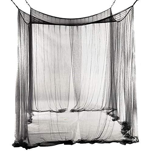 Wenset 4 Öffnungen Leicht Box Moskitonetz, Einfache 83x75x94 zoll Bett baldachin Für Einzelbett Doppelbett Insektenschutznetz Einfache installation-schwarz 190 * 210 * 240