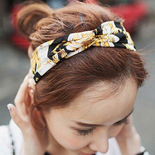 Fletion Motif Vintage Boho Floral Bandeau élastique étirable Band Hair Twisted Turban Head Wrap Coiffe pour dames Femmes Filles #7