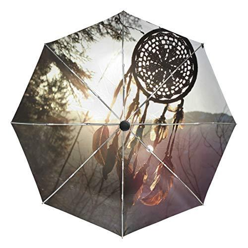 MONTOJ - Paraguas con protección UV y botón de Apertura automático, diseño de atrapasueños