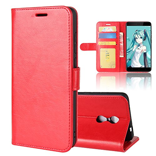 Case,Shell Women Premium PU Leather Wallet Case Women with Kickstand and Credit Card Slot Cash Holder Flip Cover for Xiaomi Redmi Note 4X Red ()