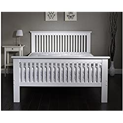 Howard - Cama de matrimonio (madera maciza con acabado en roble o estilo envejecido de color blanco, 1,2 x 1,8m), estilo misión, madera, Blanco, European Double (140 x 200 cm)