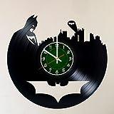 MY GIFT STORE Mon Cadeau Store Batman Gotham City Logo 30,5cm/30cm Clock- muraux en Vinyle Décoration de Chambre Moderne–Unique Faite à la Main Cadeau pour Vos Amis et Quelqu'un Que Vous Aimez