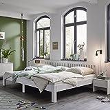 Ecolignum Familienbett™ Como (#350320) | 320x200 cm. | Co-Sleeping Massivholzbett Erle Vollholz | Weiß | Super-Size Bett