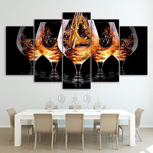 Mddrr Leinwand Bilder Wandkunst Rahmen 5 Stücke Ausländischen Weinglas Gemälde Küche &...