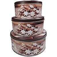 Juego de latas de galletas navideñas de Khevga, marrón, plano