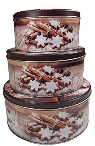 """khevga Keksdose Weihnachten Blech """"Plätzchendose"""" Set (flach, braun)"""