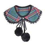 Heatnine Elegante Gitter Gefälschte Falsche Reverskragen Bluse Pan Kragen Lieferinhalt:1 x Pompom Ball
