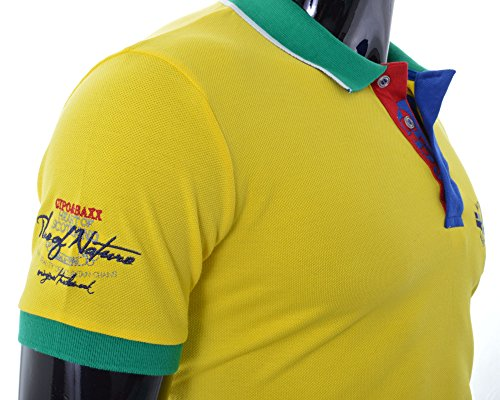 Cipo & Baxx Herren Polo T-Shirt klassisch Schnitt Lebendige Farben kontras Beiläufiges Party Gelb