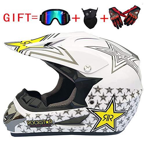 MTCTK Motorradhelm Geschenke Brille Maske Handschuhe Motocross Racing Helm Vier Jahreszeiten Helm,A,S