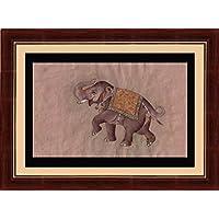 Splendida india royal stile Mughal elephant raffinata pittura in miniatura vecchia carta fatta a mano