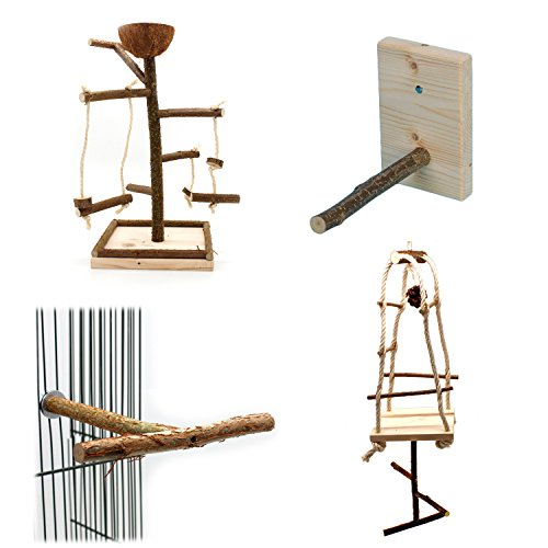 Vogelgaleria® Wellensittich Nymphensittich Spielzeug Set | 4 x Natur Vogelspielplatz Vogelspielzeug