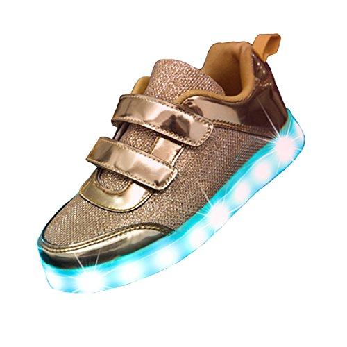 7 amp;d Brillant Usb Mädchen Turnschuhe Jungen Stil Golden Für Farben Led Sportschuhe Schuhe Sneaker Cool Aufladen Leuchtend Kinder