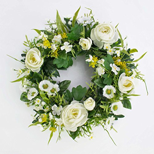 Deko Sommerkranz mit Ranunkeln, Gänseblümchen, creme, Ø 25 cm - Künstlicher Kranz / Türkranz - artplants