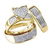 Coconano Anillo De Oro Pareja Anillo y Amor Joyería De La Amistad De Diamantes De Imitación 3pcs Joyería De Las Mujeres Baratas Del Anillo