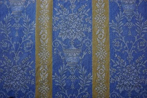 CLEARANCE Prestige Fabrics Damask COTTON MIX Blue/Gold Burleigh Upholstery curtain fabric - PER METRE