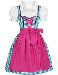 Gaudi-Leathers, Dirndl Set 3 tlg. Tinja hellblau weiß kariert mit rosa Schürze