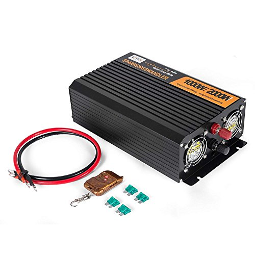 Anhon 1000/2000 Watt Wechselrichter DC 12V in AC 230V Reine Sinus-Wechselrichter Converter mit Fernbedienung LED-Bildschirm 1kw-3.5kw Wechselrichter (GZS 1kw)