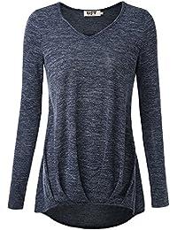 DJT Damen Casual Bluse Langarm T-Shirt Tops mit V-ausschnitt