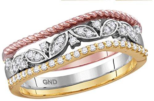 10Kt zweifarbig Gold Damen Rund Diamant geblümt stapelbar Band Ring 1/5Karat (KT Klarheit,-Farbe) (Geblümte Band)