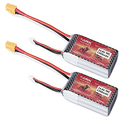 FLOURON 14.8V 1300mAh XT60 Plug Lipo 4S 40C Rechargeable RC Battery for RC Car Truck Boat RC Truggy FPV UAV Drones Airplane Helicopter DIY Hobbys and More